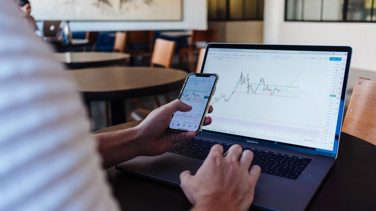 Muž si hlídá akcie a dluhopisy na notebooku.